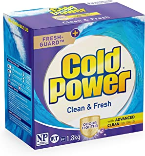 Cold Power Advanced Clean and Fresh Powder Laundry Detergent, 1.8kg, Suitable for Front and Top Loaders