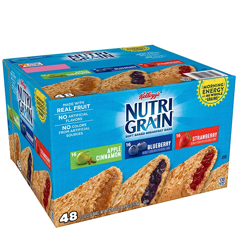 Kellogg's Nutri-Grain, Soft Baked Breakfast Bars, Variety Pack, 62.4 oz (48 Count)
