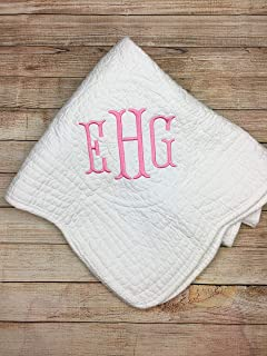 Monogrammed Baby Blanket for Boys or Girls Keepsake Blanket Infants Personalized Crib Bedding Baby Quilts with Monogram.