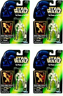 Army Builder HOTH Rebel Soldier with Survival Backpack & Blaster Rifle 4 Figure Pack Build Your Armies Star Wars Power of The Force 1996 Action Figure Set