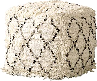 Creative Co-op White Fringed Moroccan Sequin Design Pouf, Cream