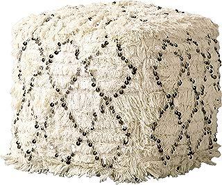 Creative Co-op White Fringed Moroccan Sequin Design Pouf, Cream