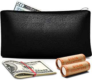 Money Bag with Zipper | Bank Deposit Bag | Qty 1 | 11 x 6 Inch | Black PU Leather | Cash and Coin Pouch | Premium Quality | Durable, Soft and Flexible Material