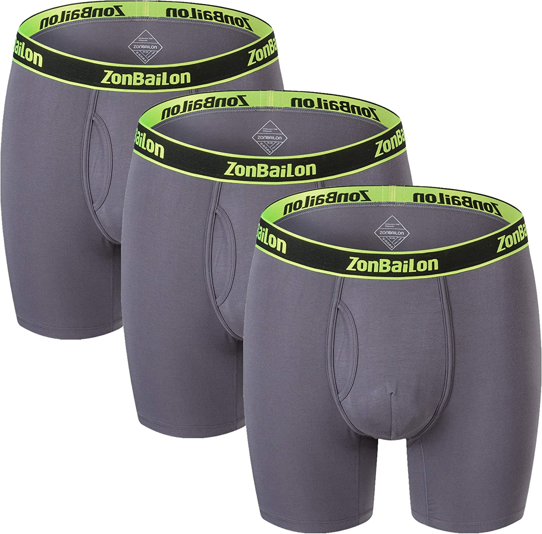 Men's Big & Tall Boxer Briefs Underwear Bamboo Breathable Long Leg Underwear for Men Pack M L XL XXL 3XL