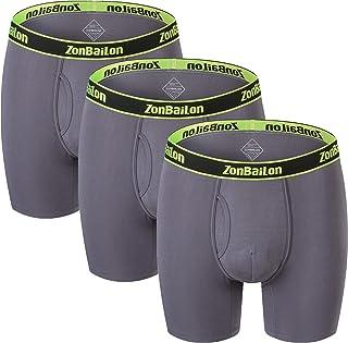 Running Underwear Men Big and Tall Boxer Briefs Long Leg Bamboo Underwear Pack