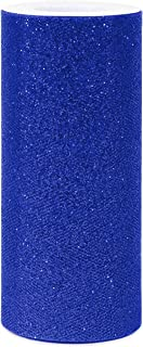 [ 6' x 25yd ] Blue Glitter Tulle Rolls for party and craft (Blue, Glitter Tull Roll)