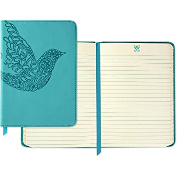 Hallmark Soft Cover Journal with Lined Pages (Scroll Bird, Teal)