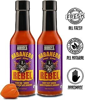 Aubrey D. Rebel Habanero Hot Sauce, Gluten Free, Vegan, Spicy Pepper Flavor for Meat, Fish, Chicken and Vegetables, 5 Fl Oz, Pack of 2