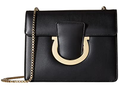 Salvatore Ferragamo Thalia Small Shoulder Bag (Nero/Nero) Handbags