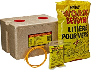 Magic Bait 1000 Worm Farm with Bedding and Food Storage Box, Yellow