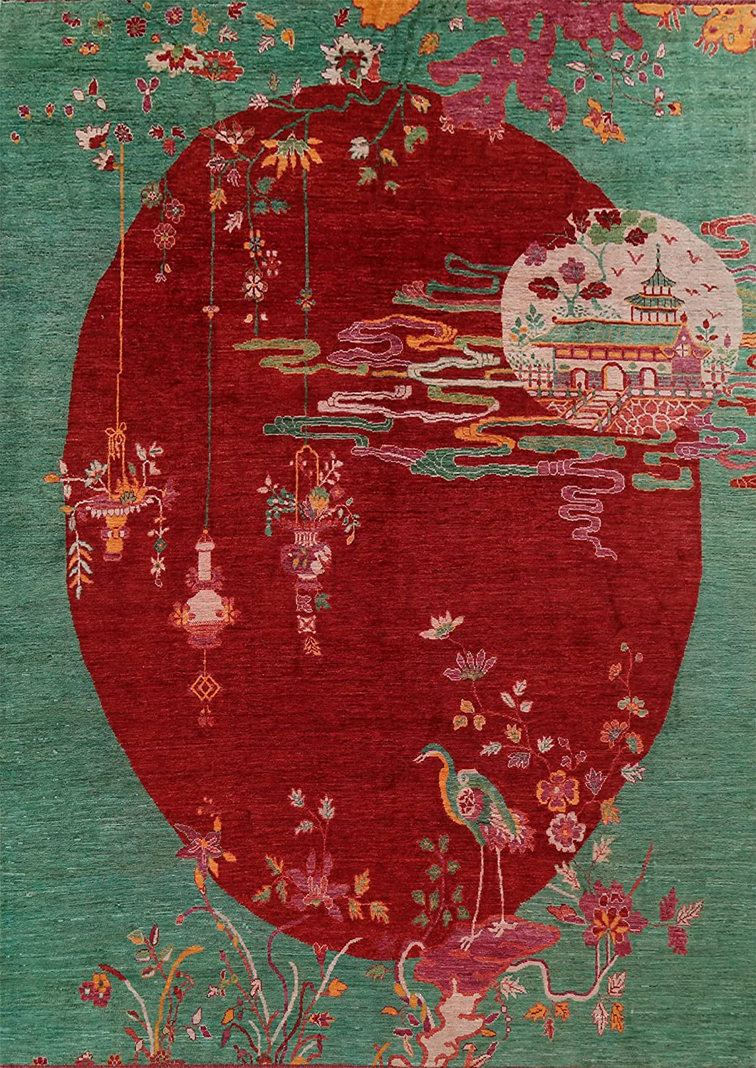 Floral Vegetable Popularity Dye Red Art Deco Handmade Rug Import Wool Chinese Area