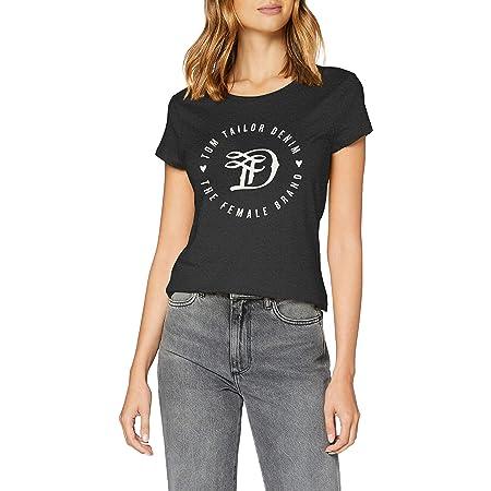 TOM TAILOR Denim Damen Basic Logo T-Shirt mit Print