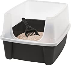 Iris Ohyama, arena para gatos con pala - Cat Litter Box - plástico, gris, 38 x 48,5 x 30,5 cm