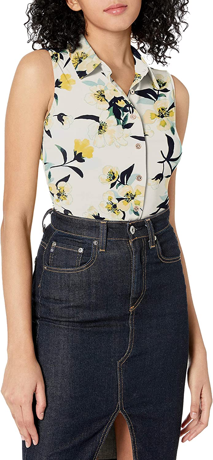 Tommy Hilfiger Women's Classic Collared Button Front Sleeveless-Knit Top