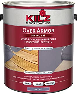 KILZ Over Armor Smooth Wood/Concrete Coating, 1 gallon, Slate Gray