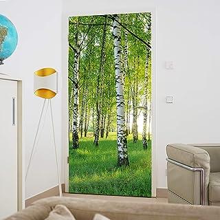 murimage Papel Pintado Puerta Bosque 3D 86 x 200 cm Incluye Pegamento Madera Plantas Abedules Árboles Sol Habitación Fotom...