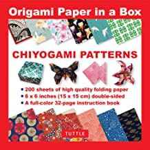 Origami Paper in a Box - Chiyogami Patterns: 200 Sheets of Tuttle Origami Paper: 6x6 Inch High-Quality Origami Paper Printed with 10 Different Patterns: 32-page Instructional Book of 12 Projects