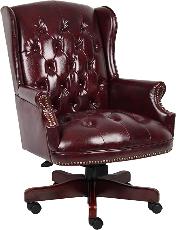 Boss Office Products B800 BY Wingback Traditional Chair In Burgundy