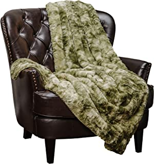 Chanasya Faux Fur Throw Blanket | Super Soft Fuzzy Light Weight Luxurious Cozy Warm Fluffy Plush Hypoallergenic Blanket for Bed Couch Chair Fall Winter Spring Living Room (50 x 65)- Olive Green