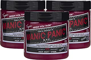 Manic Panic Hot Hot Pink Hair Color Cream (3-Pack) Classic High Voltage - Semi-Permanent Hair Dye - Vivid, Pink Shade - For Dark, Light Hair – Vegan, PPD & Ammonia-Free - Ready-to-Use, No-Mix Coloring