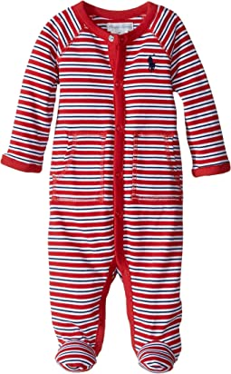 Ralph Lauren Baby YD Interlock Stripe Coveralls (Infant)