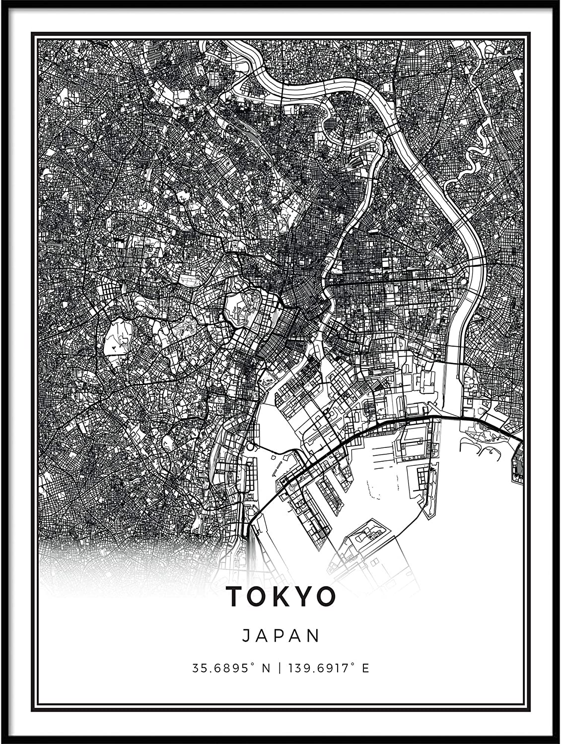 Squareious service Tokyo map Poster Print White Black 2021new shipping free shipping Modern Wall and