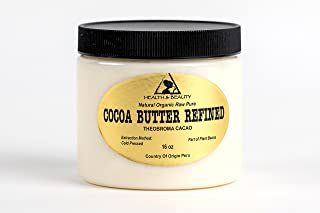 Cocoa Butter Organic Ultra Refined by H&B OILS CENTER Cold Pressed Grade A Premium Quality Natural Fresh 100% Pure 16 oz, 1 LB