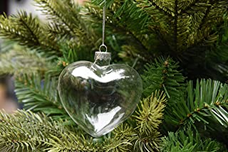 Sparkle Style 6 X Hanging Clear Heart Shape Glass Baubles Ornaments, Perfect for Garden Outdoor Christmas Wedding Decoration or DIY Personalize Gift