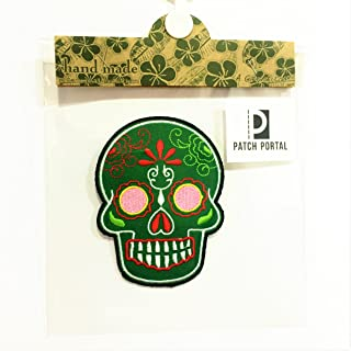 Patch Portal Skull Patches for Jackets Clothes Green Sugar Candy Day of The Dead Biker 3.5 Inches Aztec Face Mask Embroide...