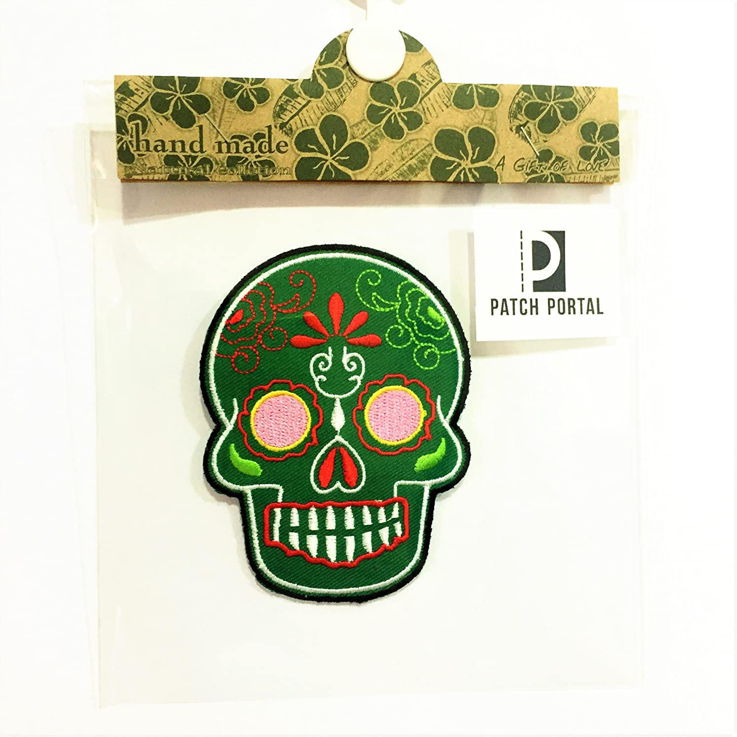Patch Portal Skull Patches for Jackets Clothes Green Sugar Candy Day of The Dead Biker 3.5 inch Aztec Face Mask Embroidered Patches Chopper Motorcycle Club DIY Applique Sewn Iron-On