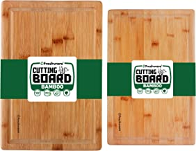Bamboo Cutting Boards for Kitchen with Juice Groove [Set of 2] Wood Cutting Board for Chopping Meat, Vegetables, Fruits, C...