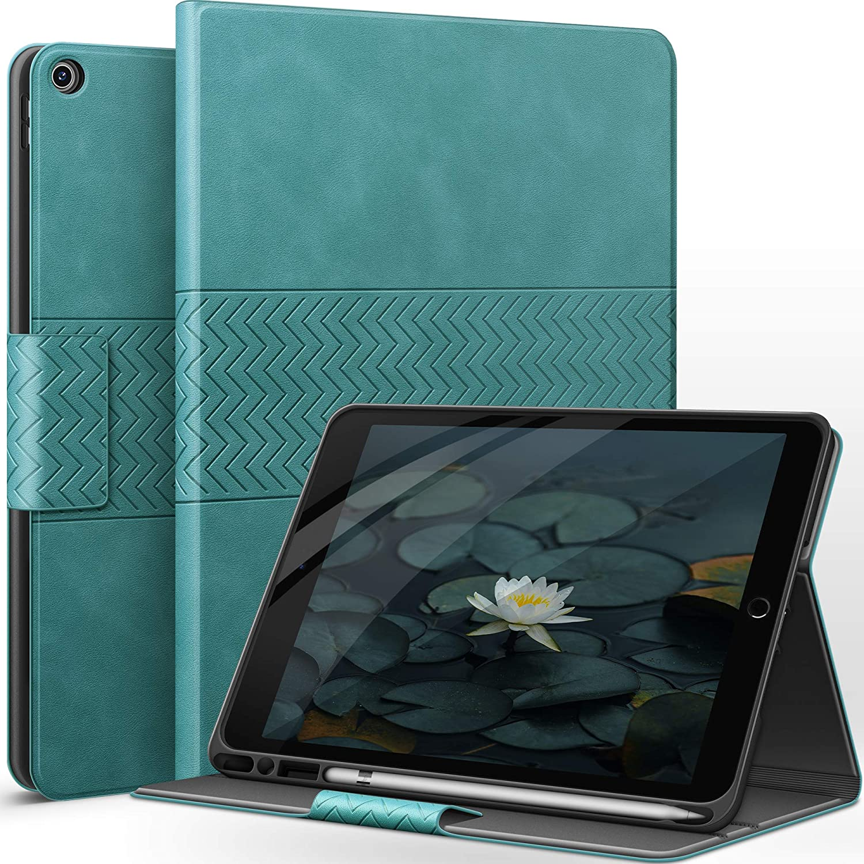 auaua iPad 8th Generation Case/iPad 7th Generation Case with Pencil Holder Vegan Leather Auto Sleep/Wake Smart Cover for iPad 10.2 Inch (Green)
