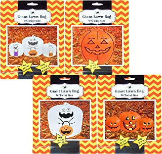 Set Of 4 Halloween Decorative Giant Lawn Bags With Twist Ties (Pumpkin & Ghost)