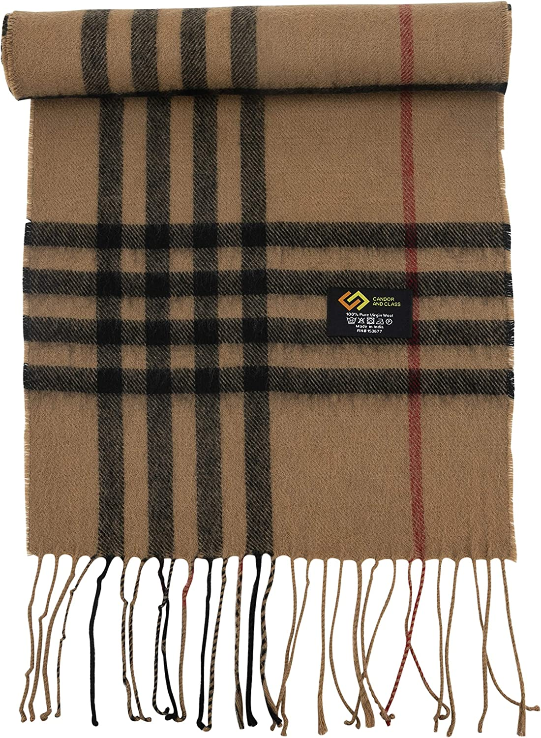 Men's 100% Pure Wool Winter Scarf, Premium Quality, Soft Luxurious Long Warm Fashion Scarves for Men by CANDOR AND CLASS