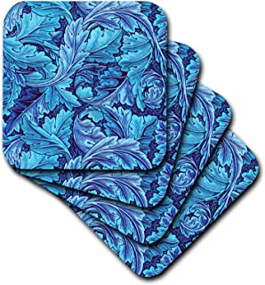3dRose Beautiful William Morris Acanthus Leaf Pattern in Blue - Soft Coasters, Set of 8 (CST_220190_2)