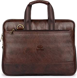 Vegan Leather Briefcase for Men Computer Bag Expandable Laptop Bag Waterproof Retro Business Travel Messenger Bag for Men Large Tote 14 Inch Brown