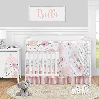 Sweet Jojo Designs Pink and Grey Watercolor Floral Baby Girl Nursery Crib Bedding Set - 5 Pieces - Blush Gray and White Sh...