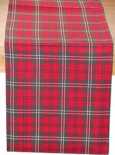 HOMESCAPES Chemin de Table à Carreaux écossais, Linge de Table en Coton, Rouge