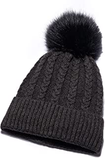 Anlarach Womens Winter Knit Slouchy Beanie Hat Warm Skull Ski Cap Faux Fur Pompom Hats for Women