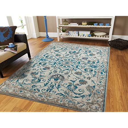 Traditional Vintage Area Rug Distressed Rug Teal Blue Gray Beige 8x11 Large Rugs For Living Room Cheap 8x10 Furniture Decor