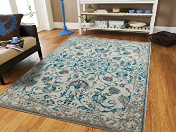 Amazon Com Traditional Vintage Area Rug Distressed Rugs Blue 5x8 Rugs Blue Turquoise Grey Beige 5x7 Kitchen Floor Rug Furniture Decor