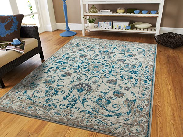 Traditional Vintage Area Rug Distressed Rug Teal Blue Gray Beige 8x11 Large Rugs For Living Room Cheap 8x10