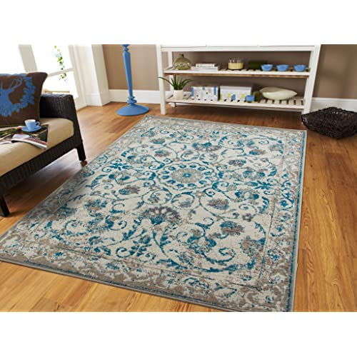 Teal And Beige Area Rugs Amazon Com
