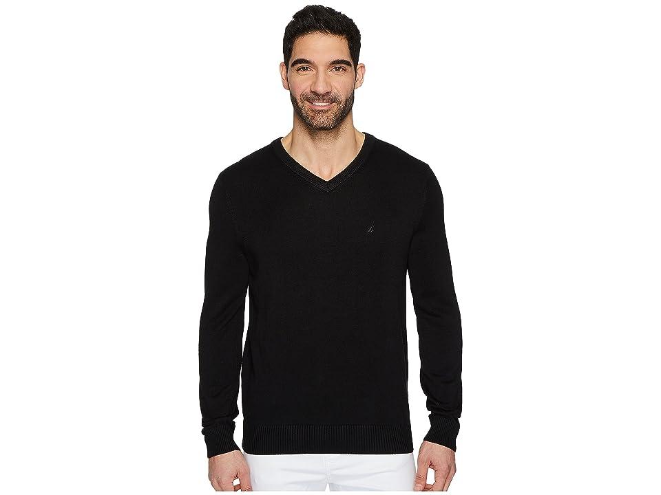 Nautica 12 Gauge V-Neck Sweater (True Black) Men