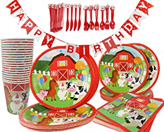 Barnyard Farm Animals Birthday Party Supplies 142 Piece Kit, Paper plates, Paper Cups, Napkins, Cutlery, Table Cover and B...