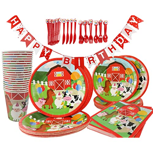 Barnyard Animals Birthday Party Supplies 141 Piece Kit Paper Plates Cups