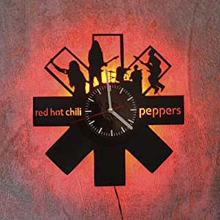 Art Finder Red Hot Chili Peppers Red Led Light Vinyl Record Wall Clock - Original Home Wall Decor - Wall Clock - Perfect Handmade Gift for Men and Women Best Gifts Night Light Vinyl record clock