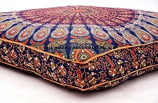 Handicraftspalace, funda india para cojín de suelo con tapiz de de mandala de pavo real azul, cuadrada, tamaño grande, asiento otomano bohemio puf de meditación.