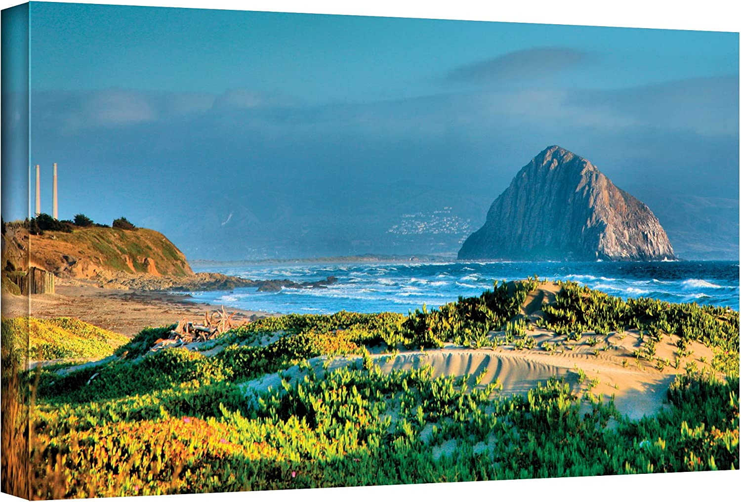 Art Wall 'Morro Rock and Beach' Gallery Wrapped Canvas Artwork by Steve Ainsworth, 12 by 24-Inch