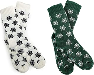FGR Christmas (2 Pack) Womens Thick Knit Sherpa Fleece Lined Thermal Fuzzy Slipper Socks With Grippers Green White Snow